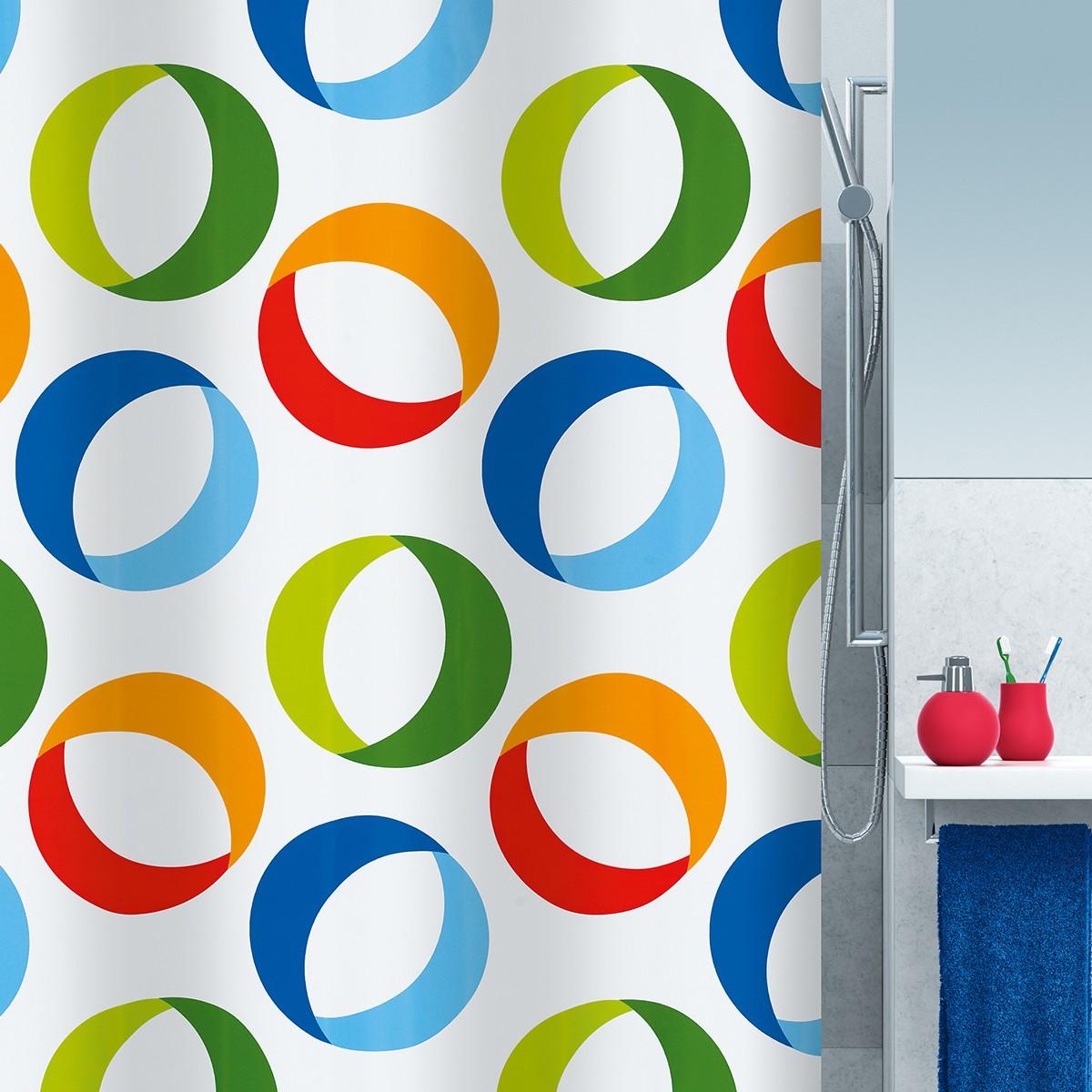 Κουρτίνα Μπάνιου (180×200) Spirella Rings Multicolor
