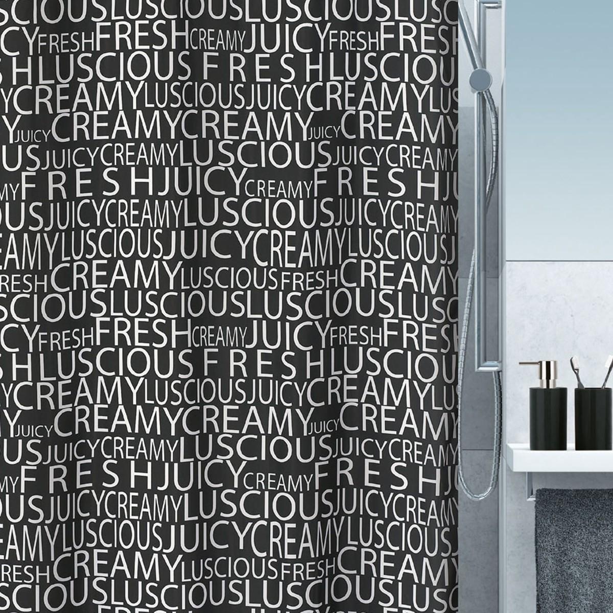 Κουρτίνα Μπάνιου (180x200) Spirella Crema Black