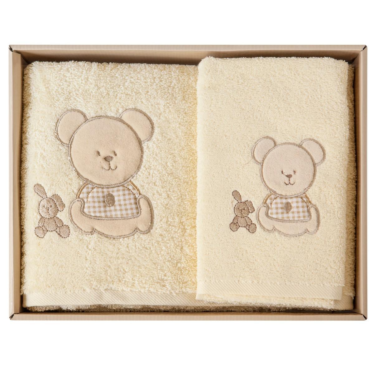Βρεφικές Πετσέτες (Σετ 2τμχ) Melinen Bear Beige Χ Beige 74398