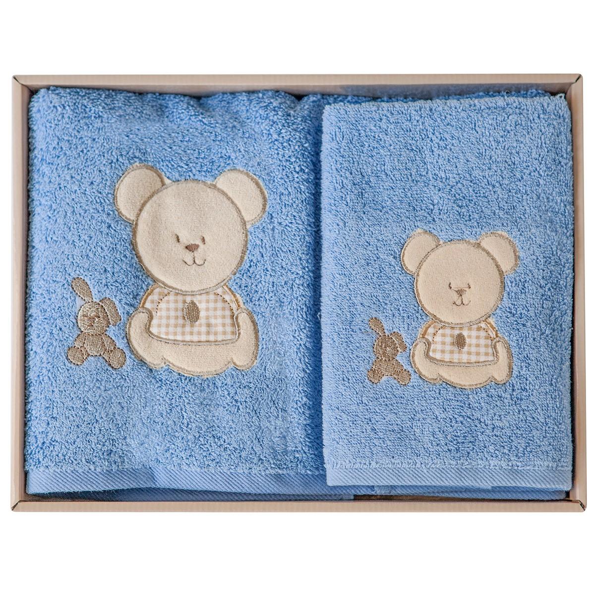 Βρεφικές Πετσέτες (Σετ 2τμχ) Melinen Bear Blue Χ Beige