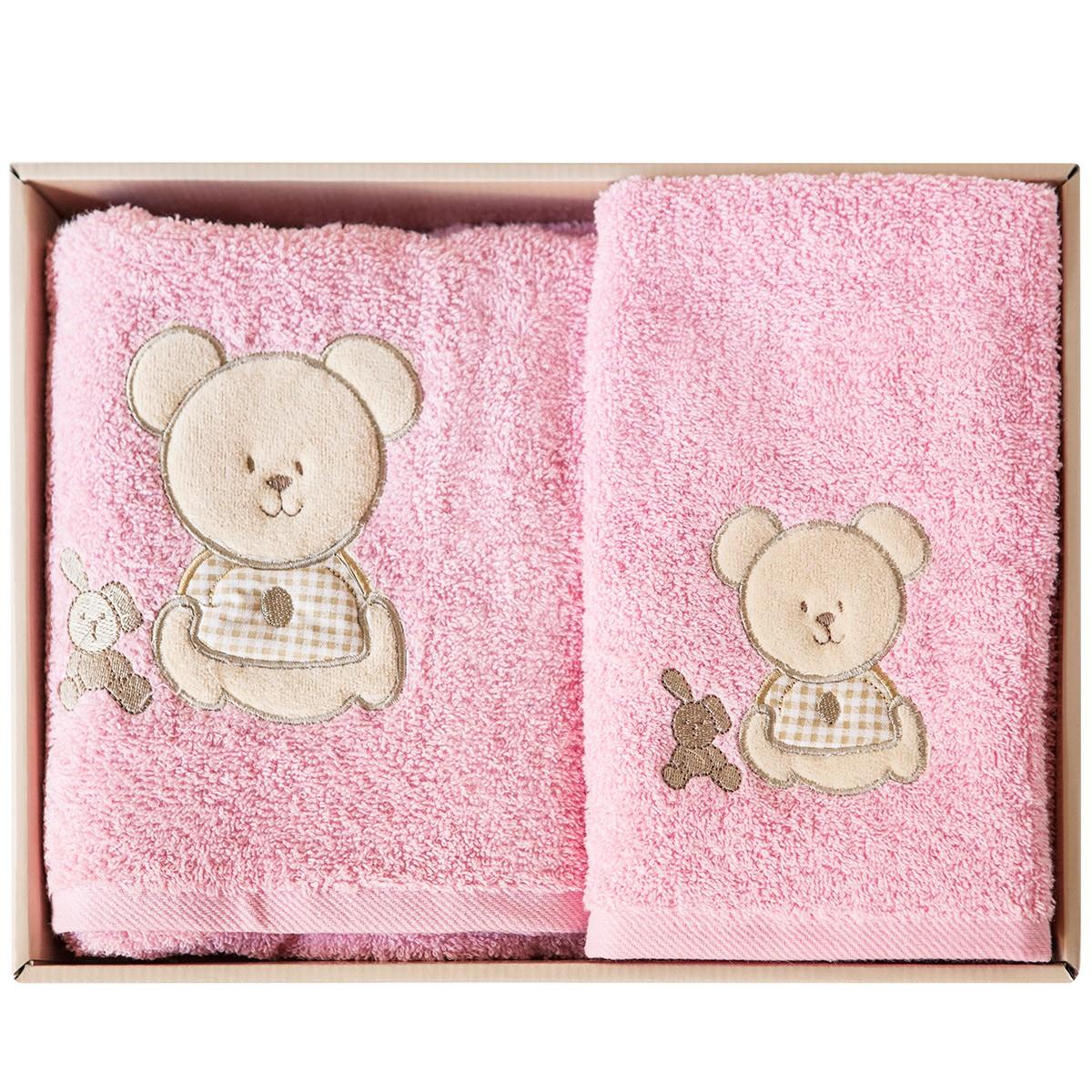 Βρεφικές Πετσέτες (Σετ 2τμχ) Melinen Bear Pink Χ Beige 74400