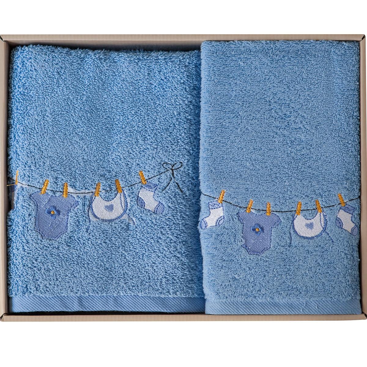 Βρεφικές Πετσέτες (Σετ 2τμχ) Melinen Clothes Blue X Blue home   βρεφικά   πετσέτες βρεφικές