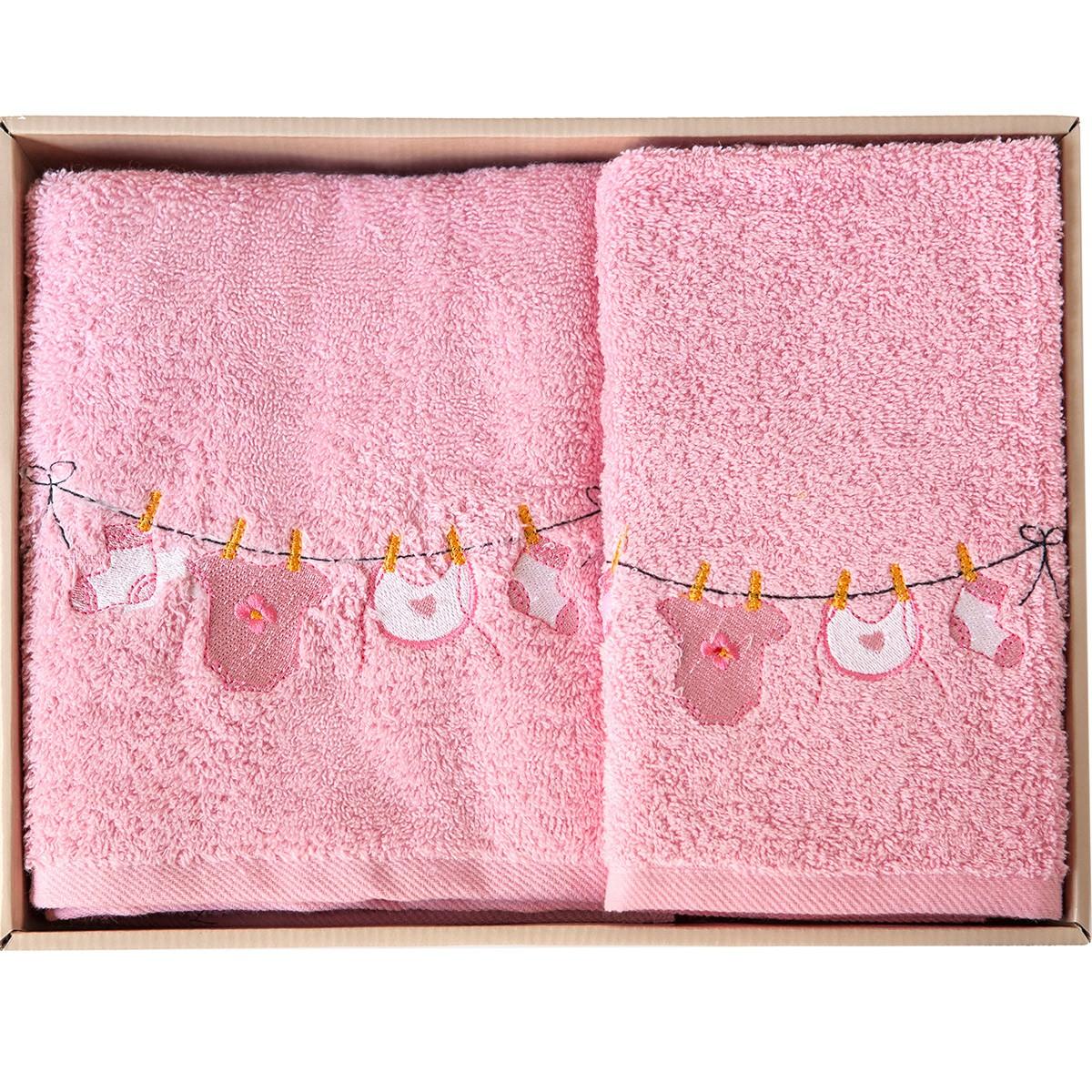 Βρεφικές Πετσέτες (Σετ 2τμχ) Melinen Clothes Pink X Pink