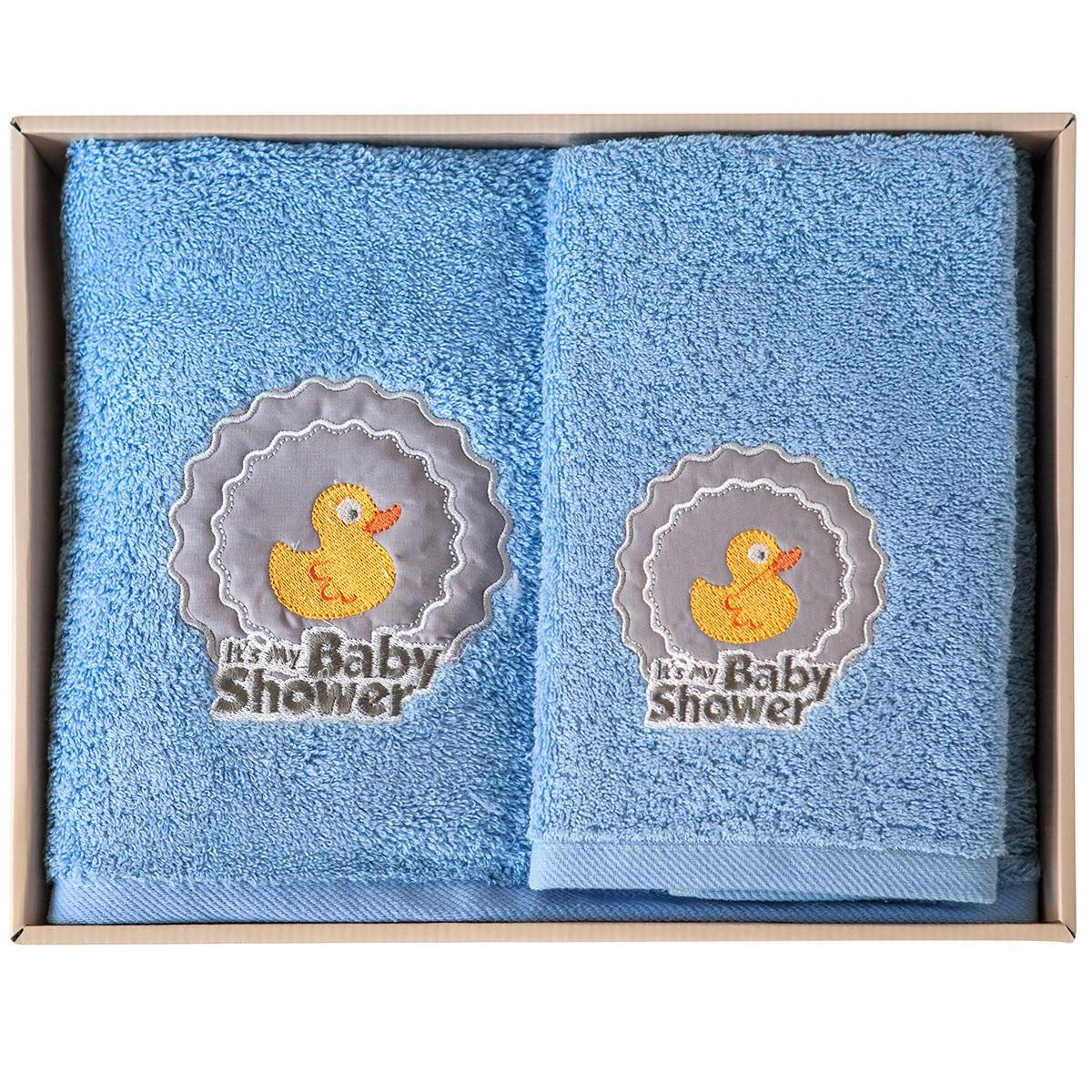 Βρεφικές Πετσέτες (Σετ 2τμχ) Melinen Duck Blue X Grey