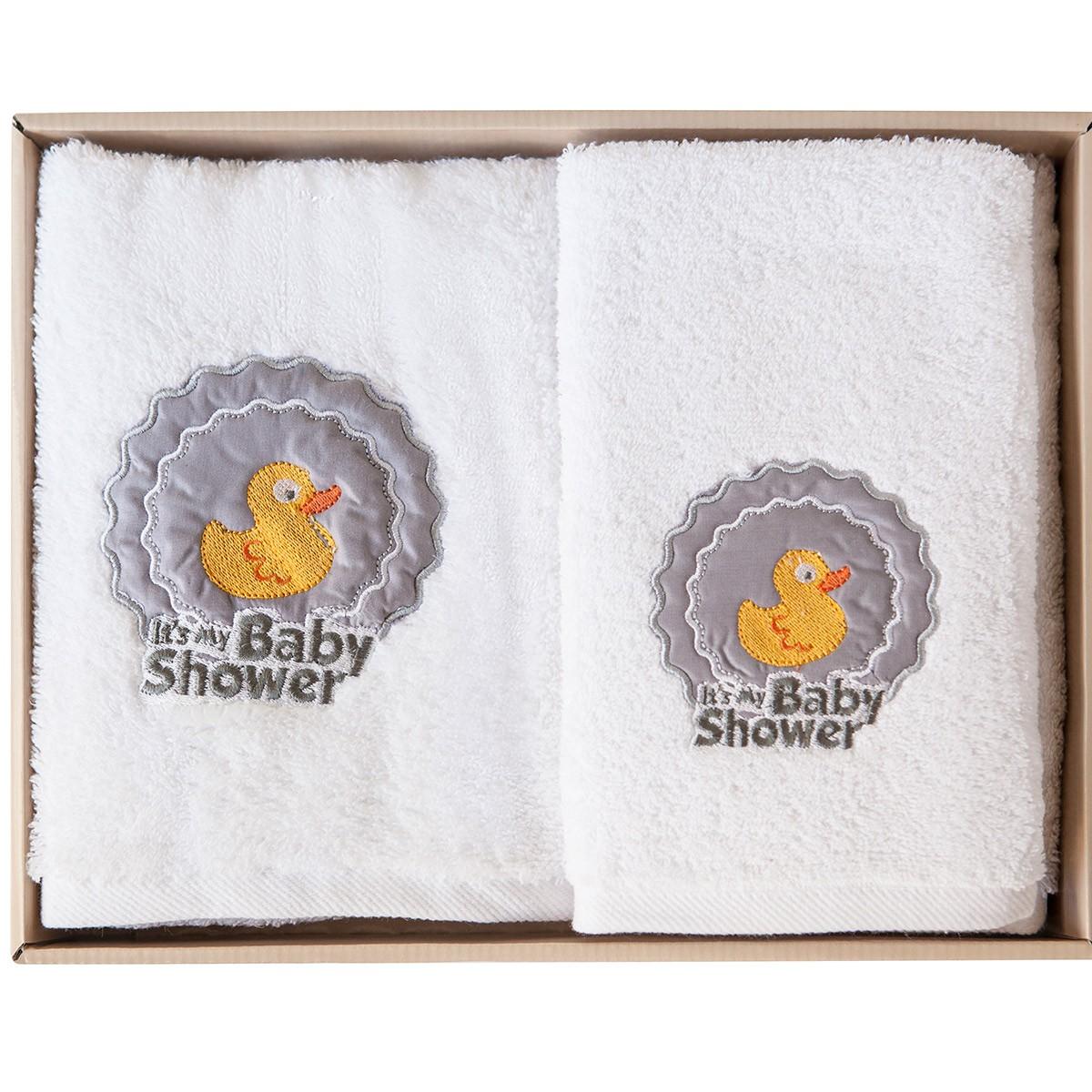 Βρεφικές Πετσέτες (Σετ 2τμχ) Melinen Duck White X Grey