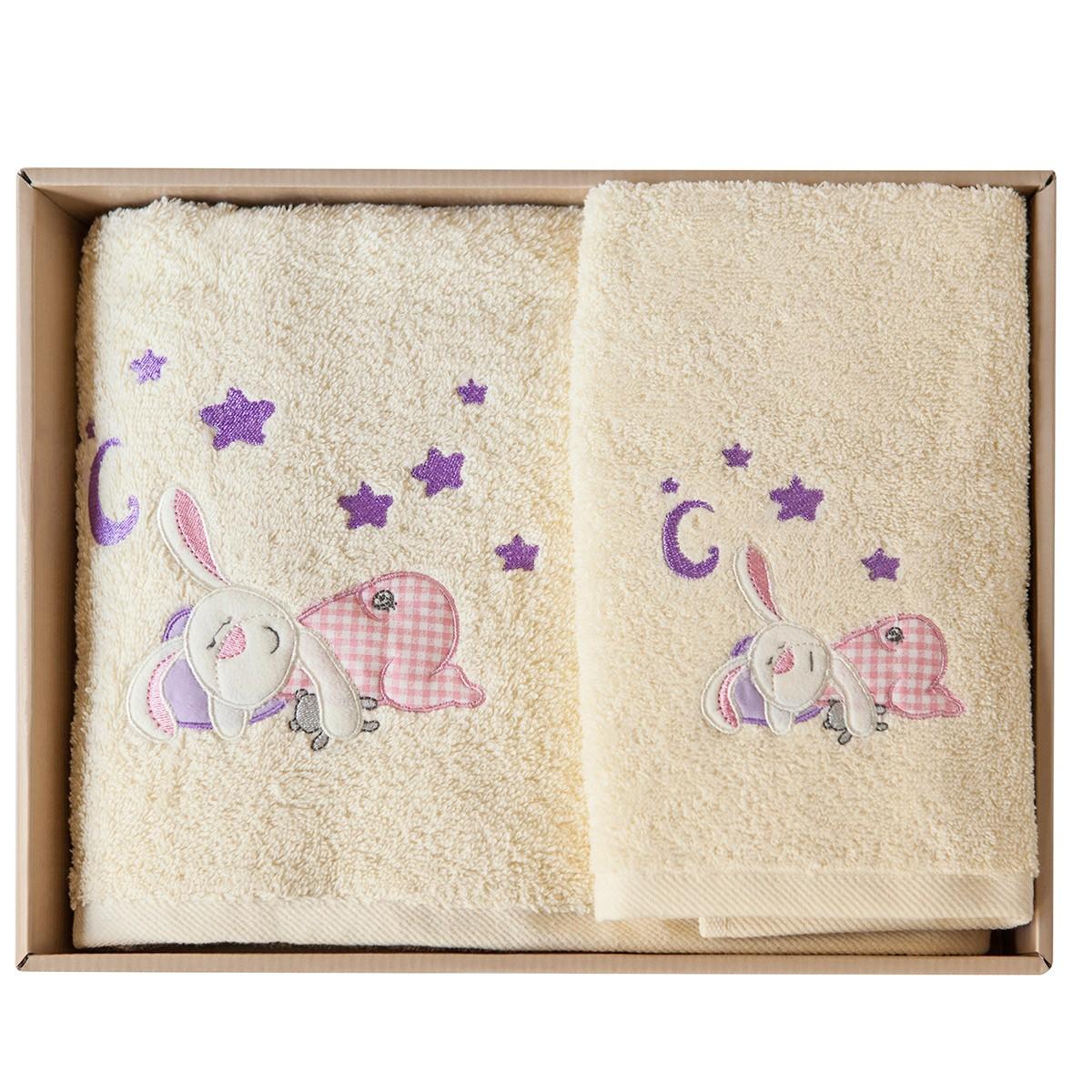 Βρεφικές Πετσέτες (Σετ 2τμχ) Melinen Rabbit Cream X Pink 74408