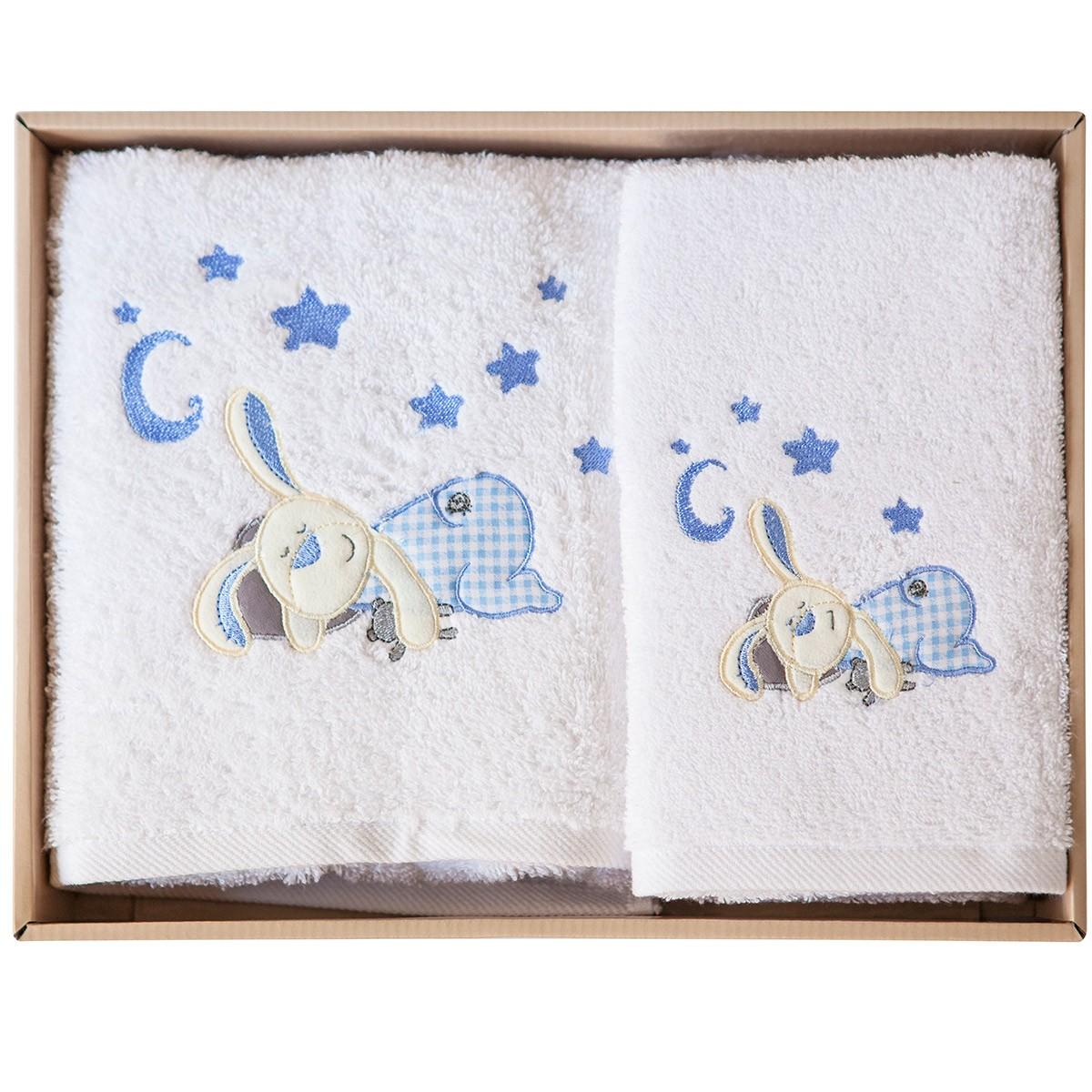 Βρεφικές Πετσέτες (Σετ 2τμχ) Melinen Rabbit White X Blue