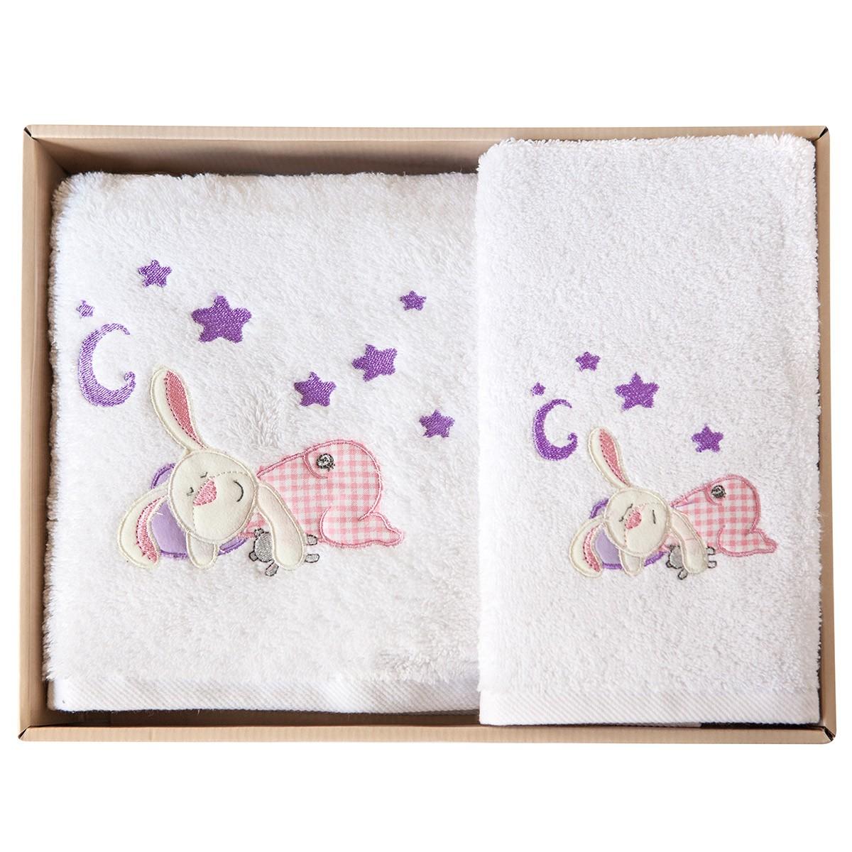 Βρεφικές Πετσέτες (Σετ 2τμχ) Melinen Rabbit White X Pink