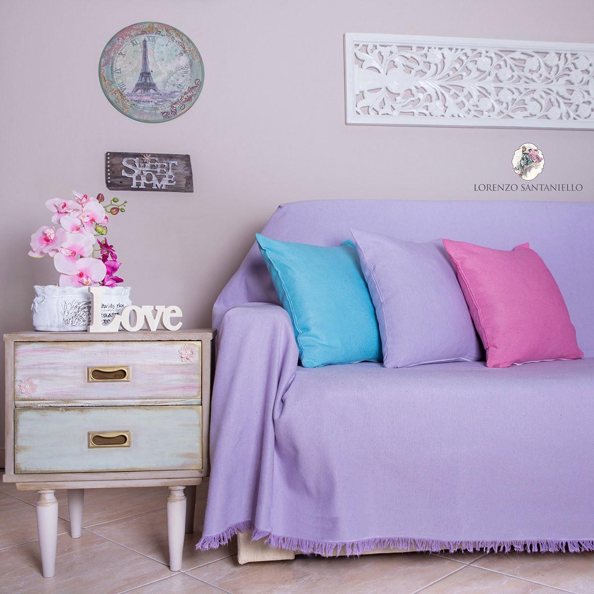 Διακοσμητική Μαξιλαροθήκη Lorenzo Santaniello Ψάθα Lilac