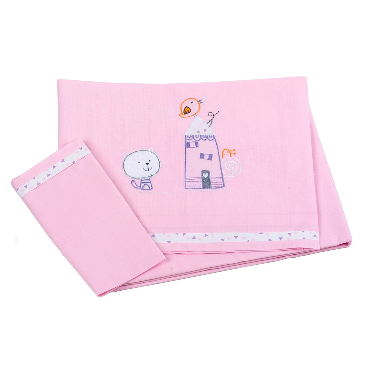 Σεντόνια Κούνιας (Σετ) Κόσμος Του Μωρού Home 0290 Ροζ
