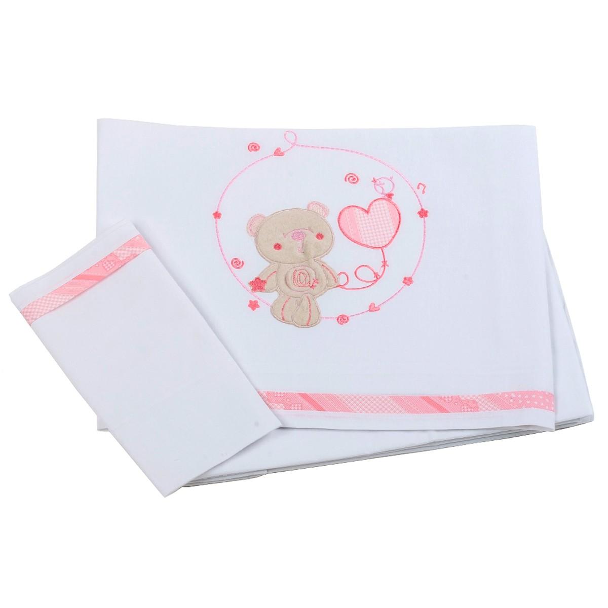 Σεντόνια Κούνιας (Σετ) Κόσμος Του Μωρού Heart 0275 Ροζ
