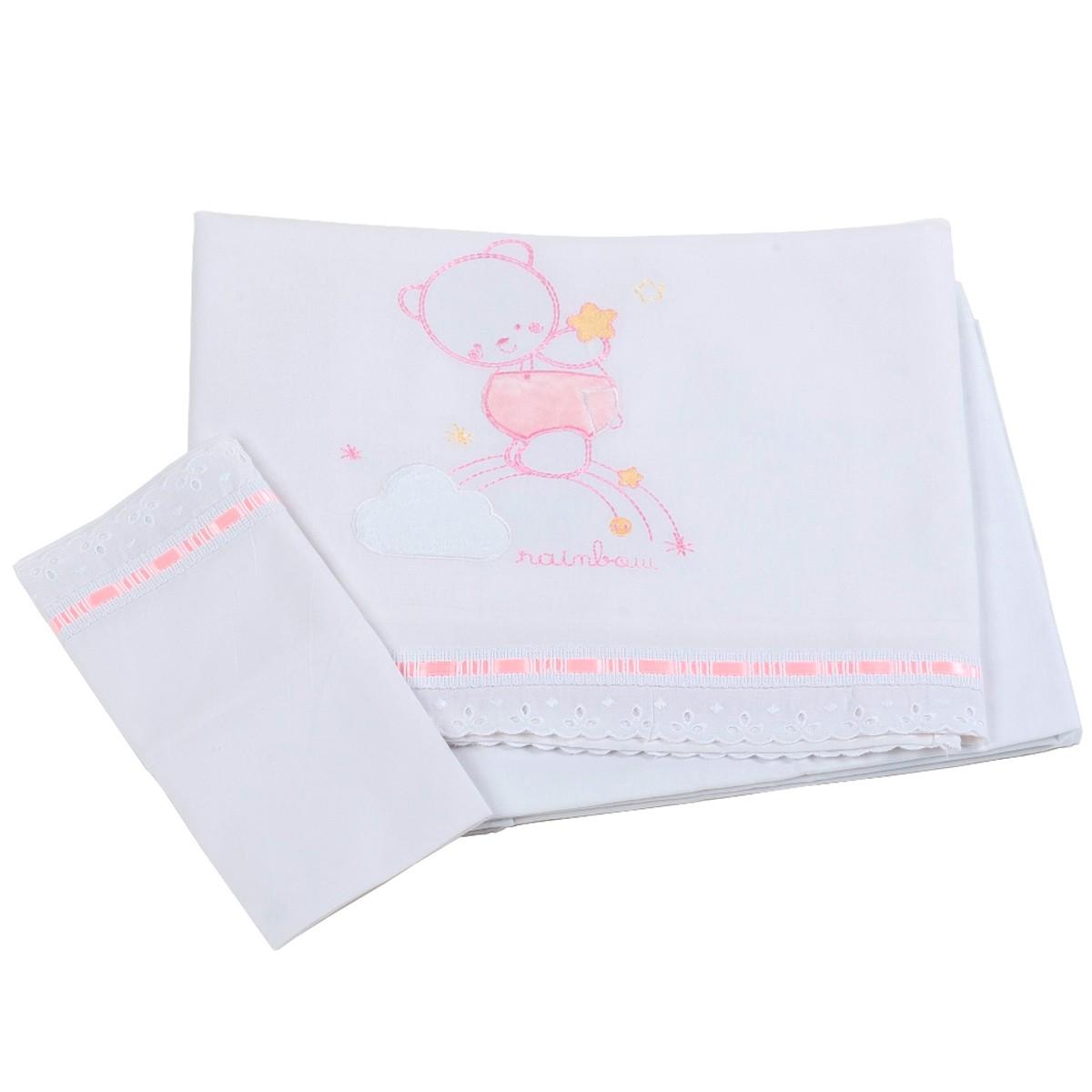 Σεντόνια Κούνιας (Σετ) Κόσμος Του Μωρού Rainbow 0260 Ροζ
