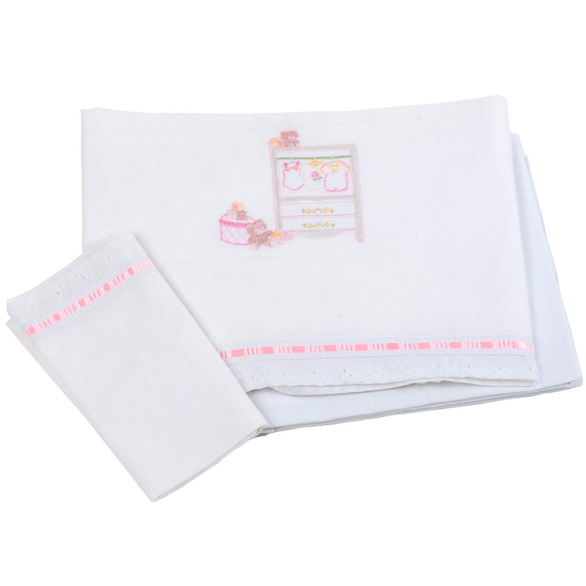 Σεντόνια Κούνιας (Σετ) Κόσμος Του Μωρού Wardrobe 0265 Ροζ