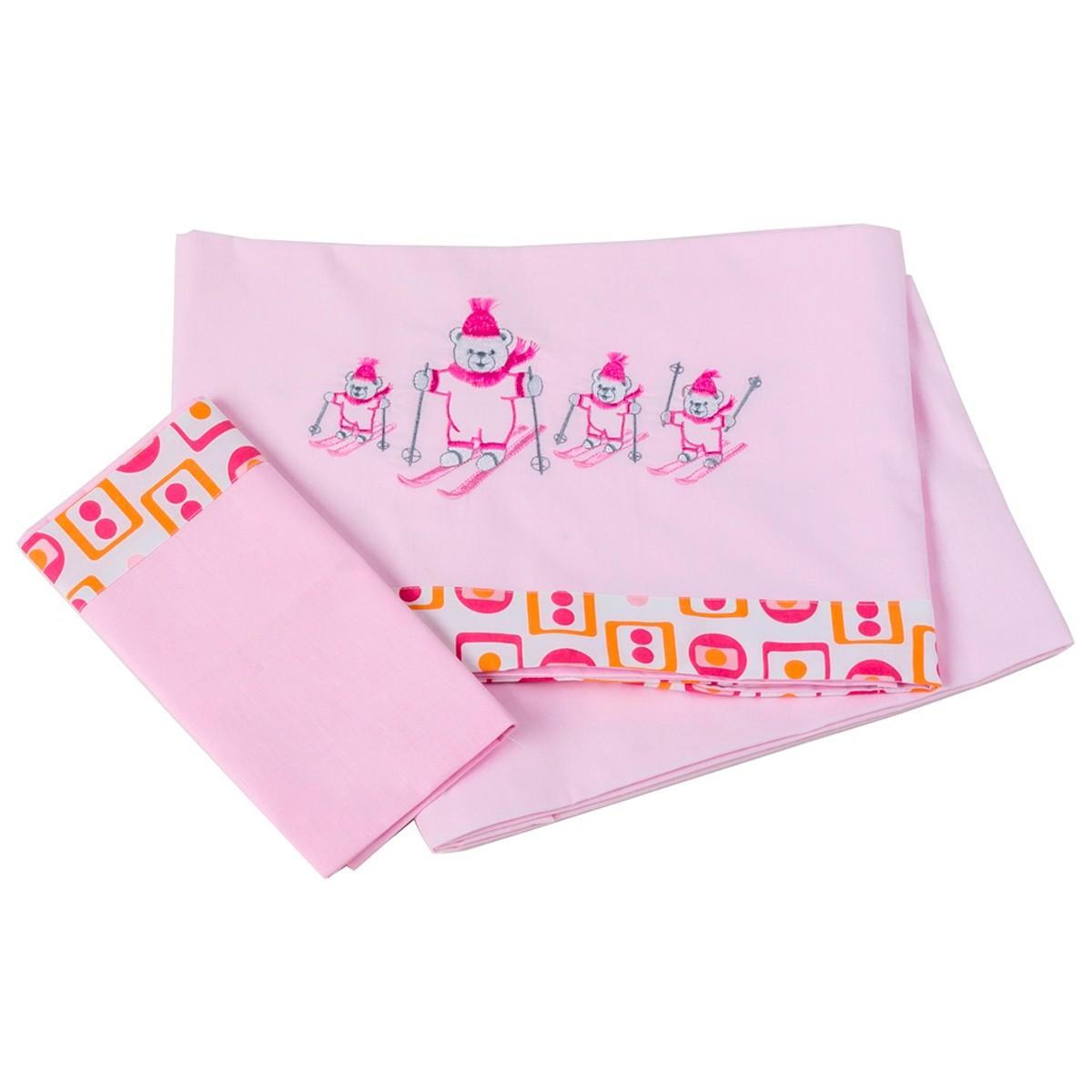 Φανελένια Σεντόνια Κούνιας (Σετ) Κόσμος Του Μωρού Ski 0299 Ροζ