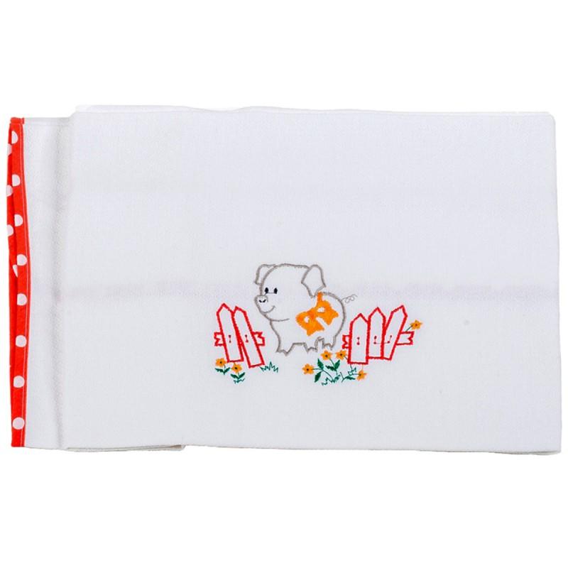 Κουβέρτα Πικέ Κούνιας Κόσμος Του Μωρού 0303 Pig Κόκκινο