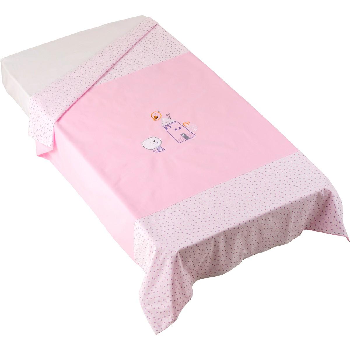 Παπλωματοθήκη Κούνιας Κόσμος Του Μωρού Home 7890 Ρόζ