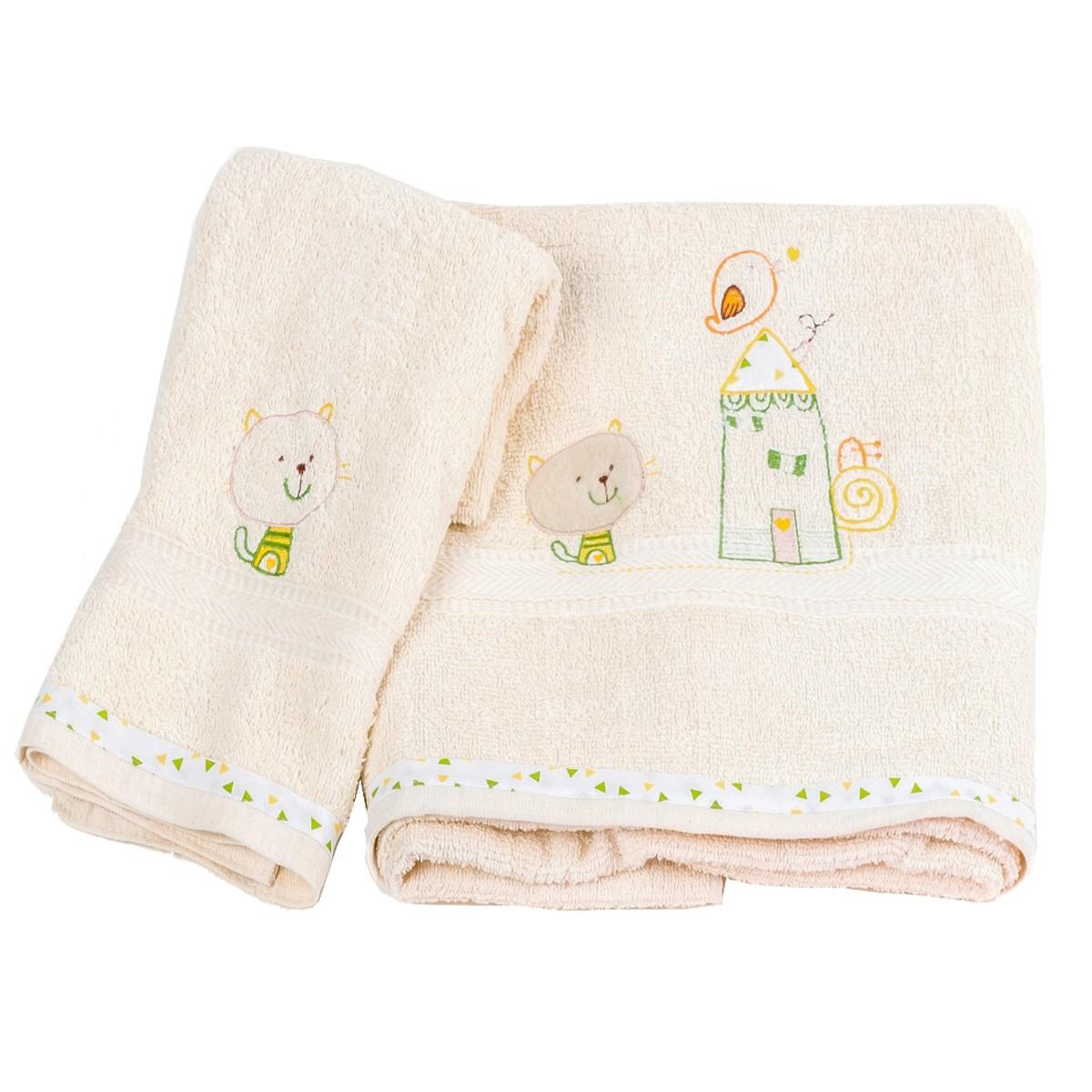 Βρεφικές Πετσέτες (Σετ 2τμχ) Κόσμος Του Μωρού Home 0590 Εκρού