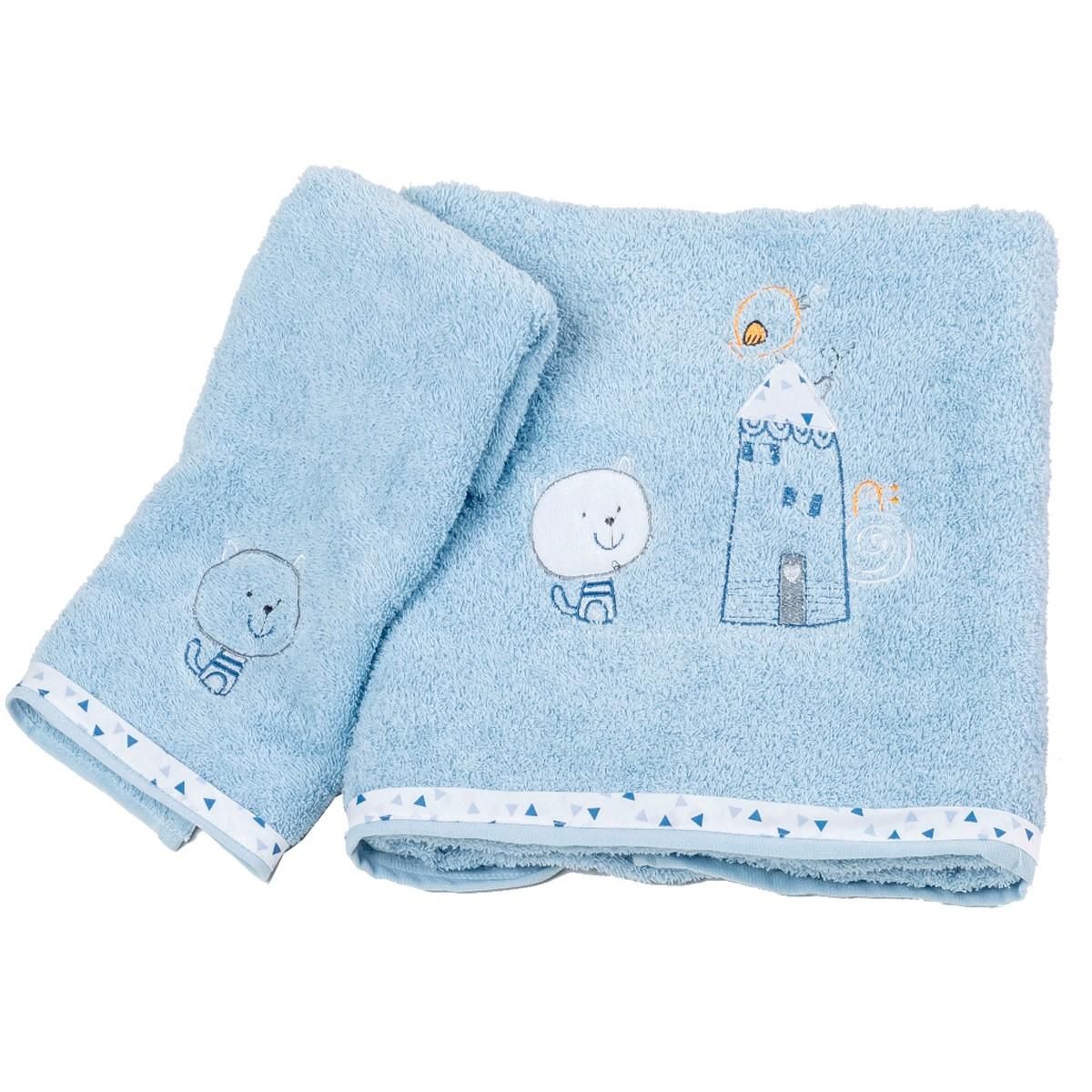 Βρεφικές Πετσέτες (Σετ 2τμχ) Κόσμος Του Μωρού Home 0590 Σιέλ
