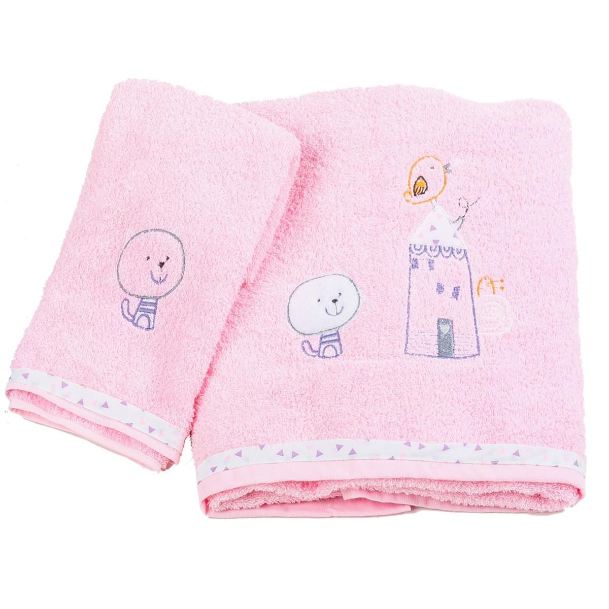 Βρεφικές Πετσέτες (Σετ 2τμχ) Κόσμος Του Μωρού Home 0590 Ροζ
