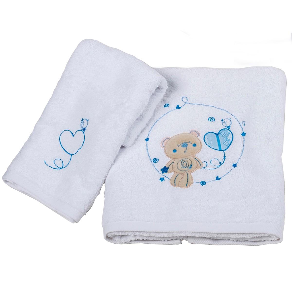 Βρεφικές Πετσέτες (Σετ 2τμχ) Κόσμος Του Μωρού Heart 0575 Σιέλ
