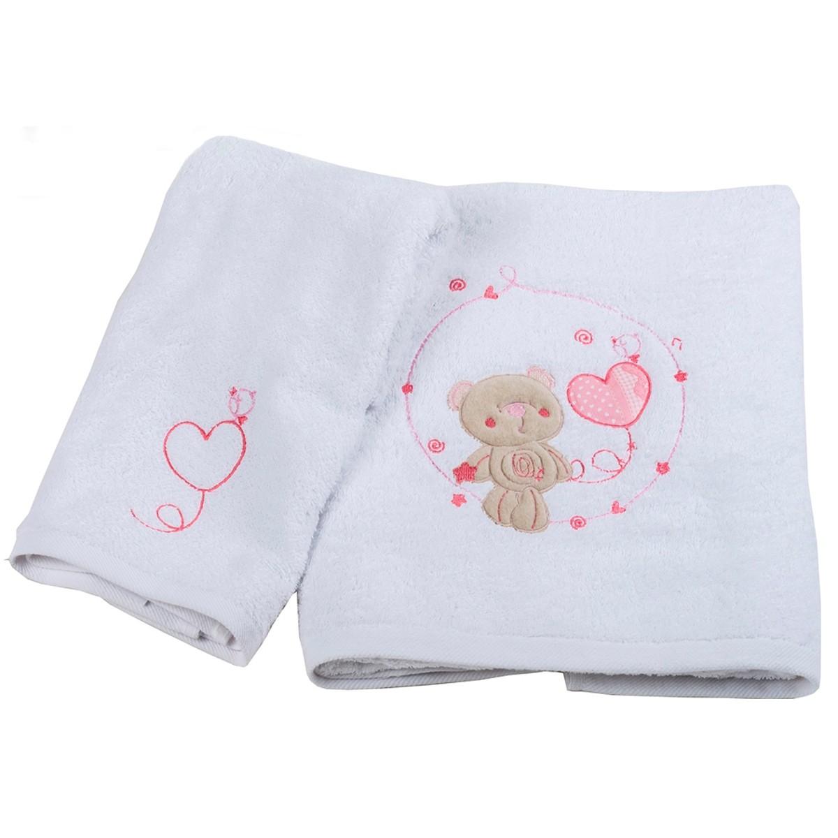 Βρεφικές Πετσέτες (Σετ 2τμχ) Κόσμος Του Μωρού Heart 0575 Ροζ