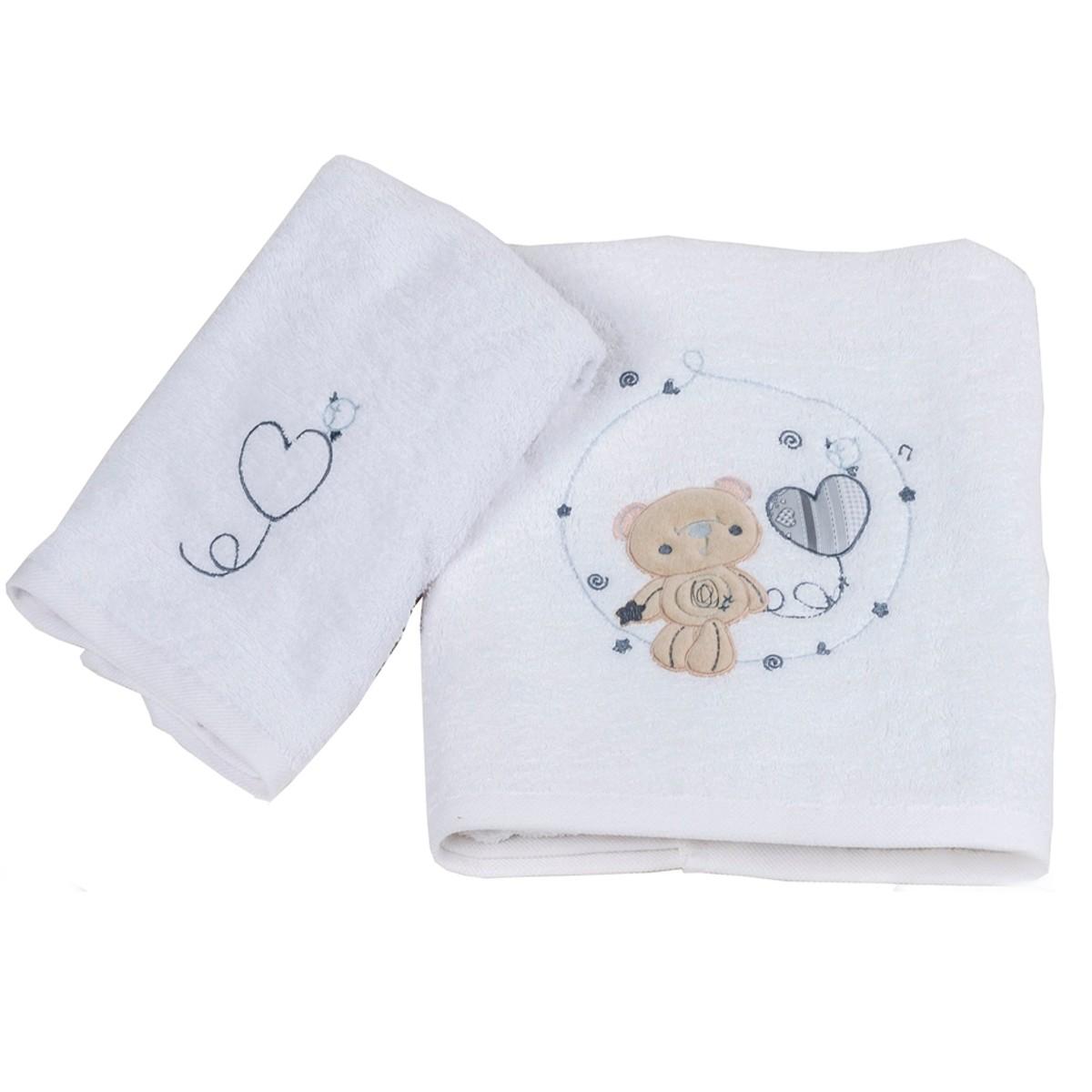 Βρεφικές Πετσέτες (Σετ 2τμχ) Κόσμος Του Μωρού Heart 0575 Γκρι