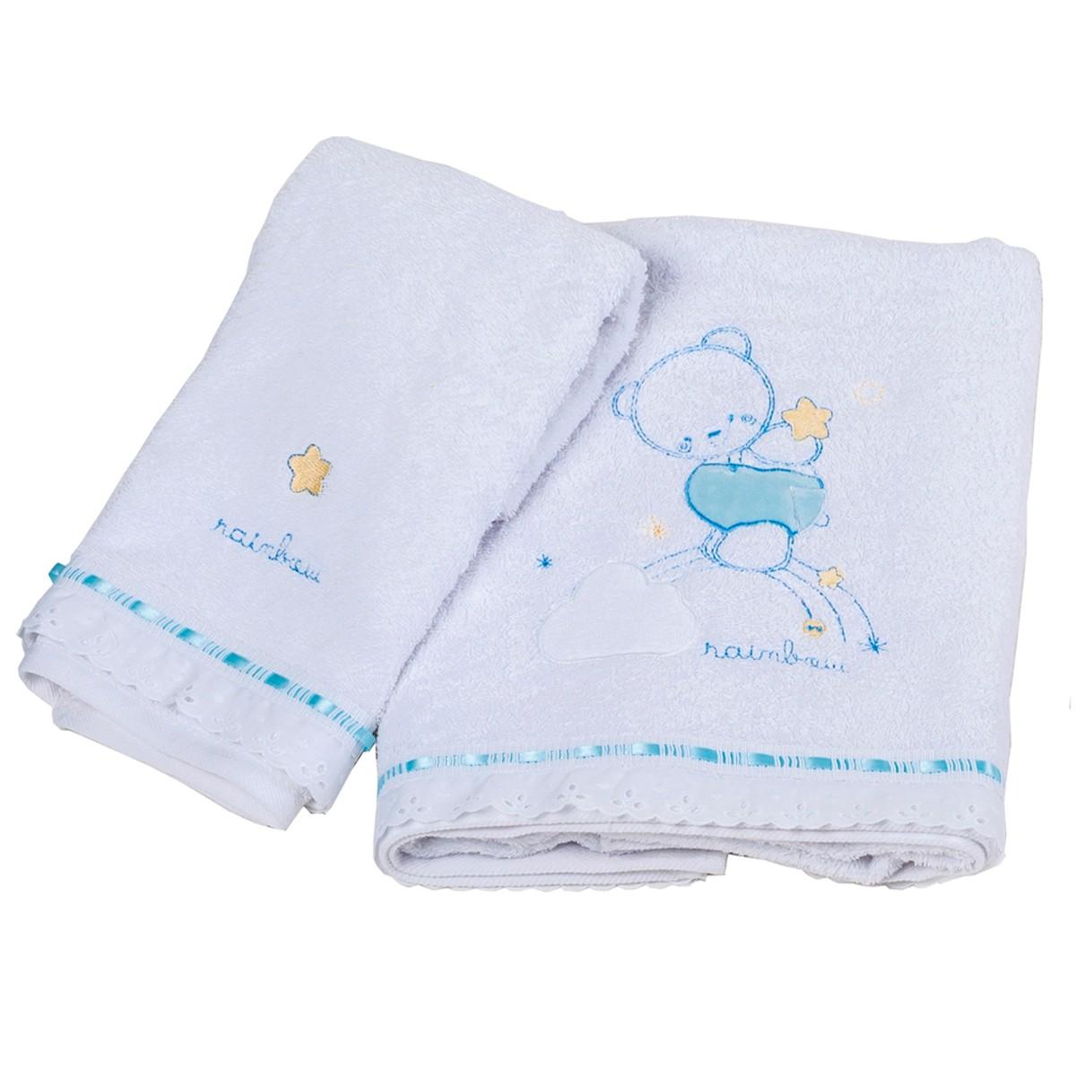 Βρεφικές Πετσέτες (Σετ 2τμχ) Κόσμος Του Μωρού Rainbow 0560 Σιέλ 74628