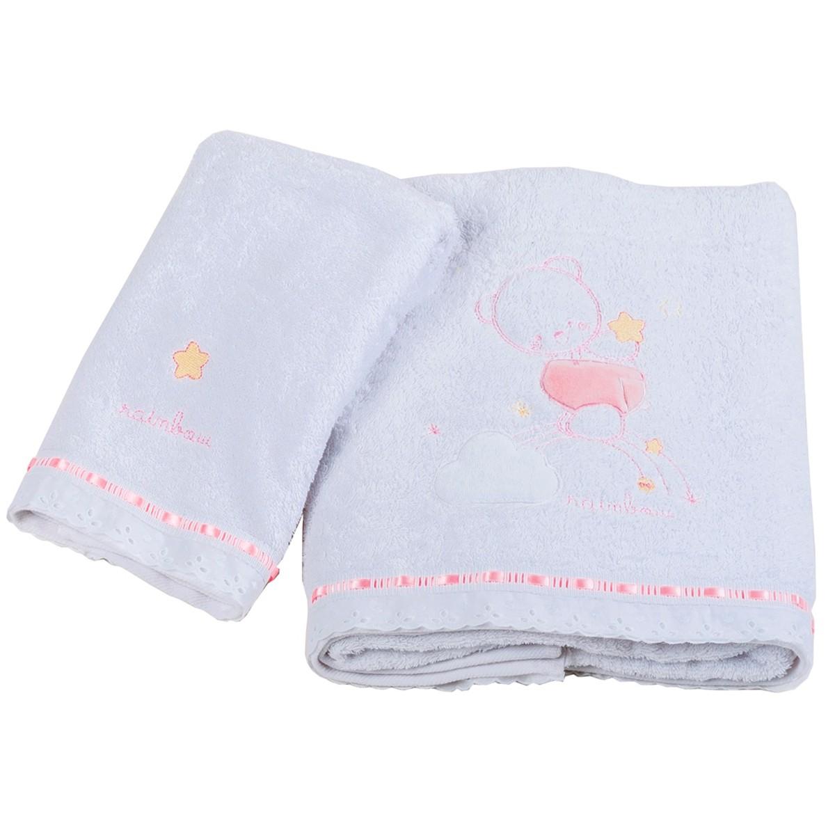 Βρεφικές Πετσέτες (Σετ 2τμχ) Κόσμος Του Μωρού Rainbow 0560 Ροζ