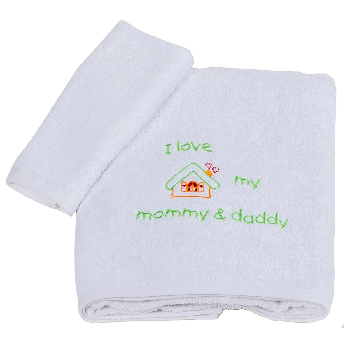 Βρεφικές Πετσέτες (Σετ 2τμχ) Κόσμος Του Μωρού Love 0502 Λαχανί
