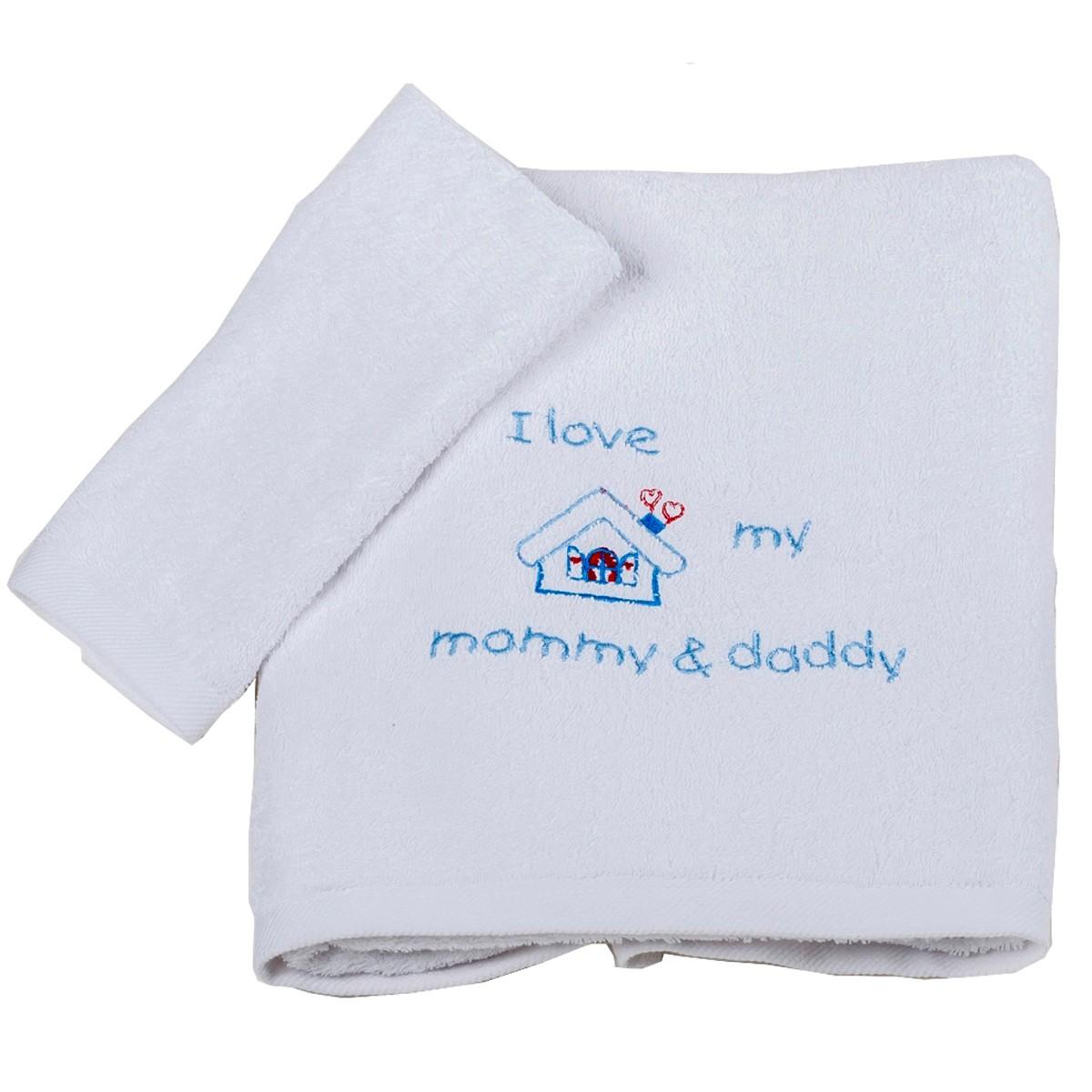 Βρεφικές Πετσέτες (Σετ 2τμχ) Κόσμος Του Μωρού Love 0502 Σιέλ 74634