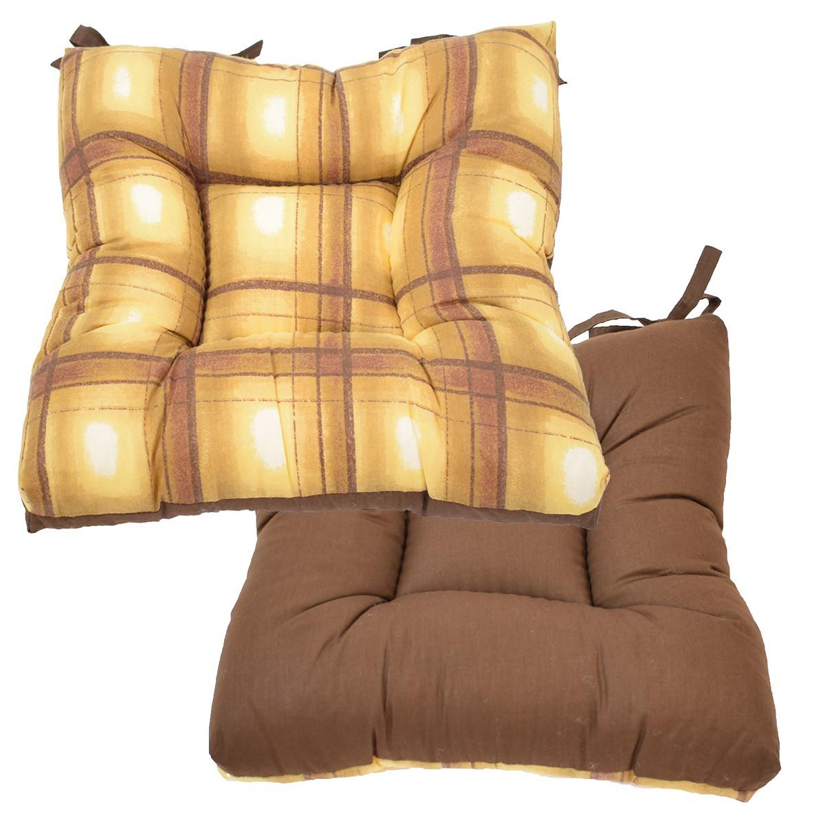 Μαξιλάρι Καρέκλας Φουσκωτό 2 Όψεων Fratoni DobleCara Brown