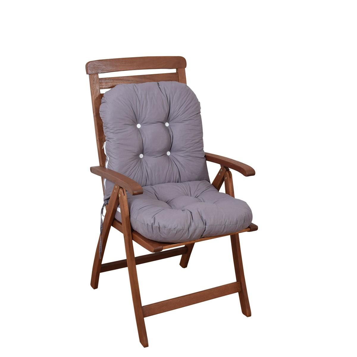 Μαξιλάρι Καρέκλας Bamboo Με Πλάτη Fratoni Solid Grey