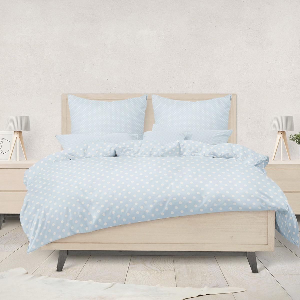Ζεύγος Φανελένιες Μαξιλαροθήκες Melinen PolkaDot L.Blue 74989