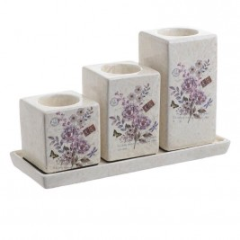 Κηροπήγιο 3 Θέσεων InArt Flower Lilac 3-70-226-0034