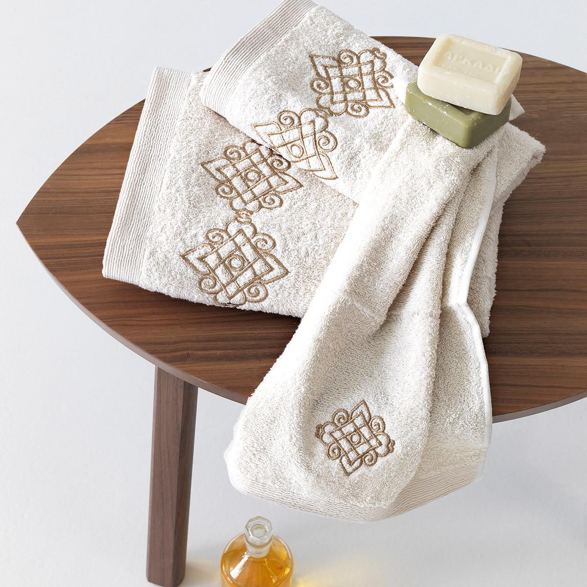 Πετσέτες Μπάνιου (Σετ 3τμχ) Sb Home Mythos Cream