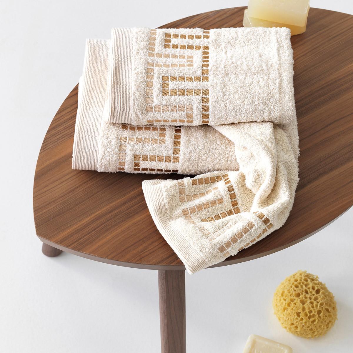 Πετσέτες Μπάνιου (Σετ 3τμχ) Sb Home Mycenae Cream