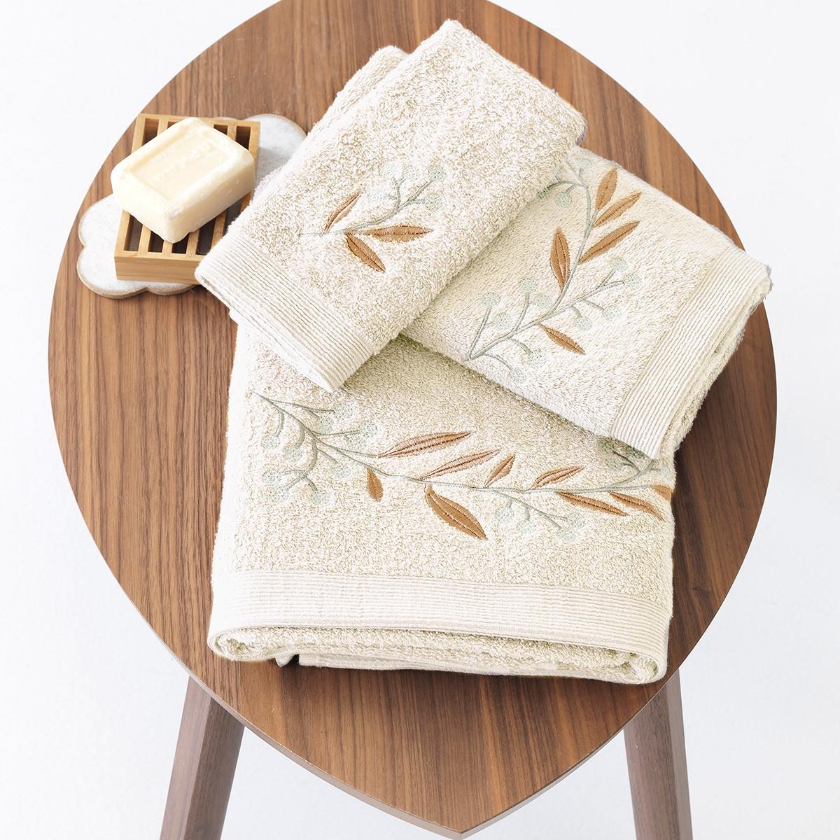 Πετσέτες Μπάνιου (Σετ 3τμχ) Sb Home Elea Cream