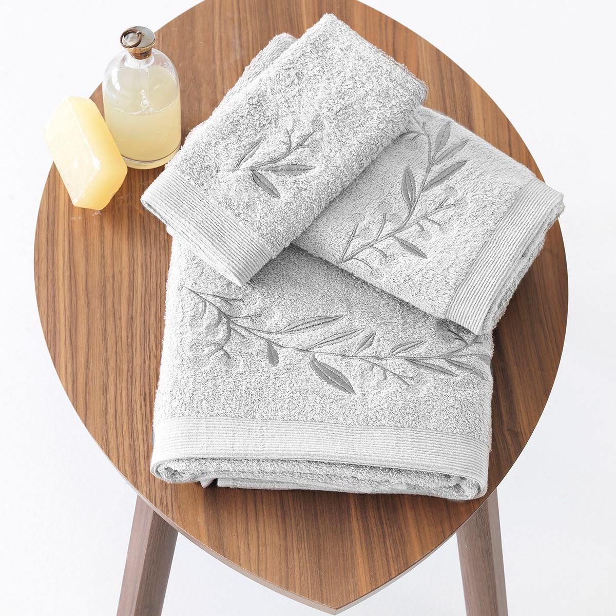 Πετσέτες Μπάνιου (Σετ 3τμχ) Sb Home Elea Silver