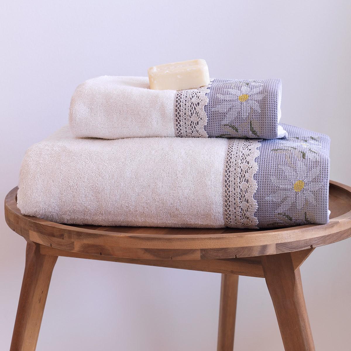 Πετσέτες Μπάνιου (Σετ 2τμχ) Sb Home Daisies Cream