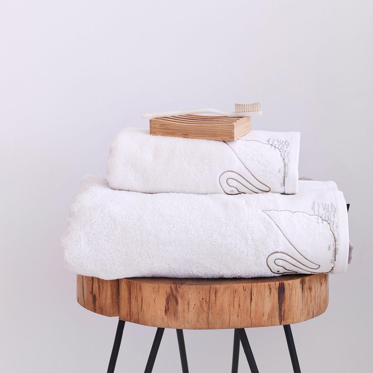 Πετσέτες Μπάνιου (Σετ 2τμχ) Sb Home Swan Cream