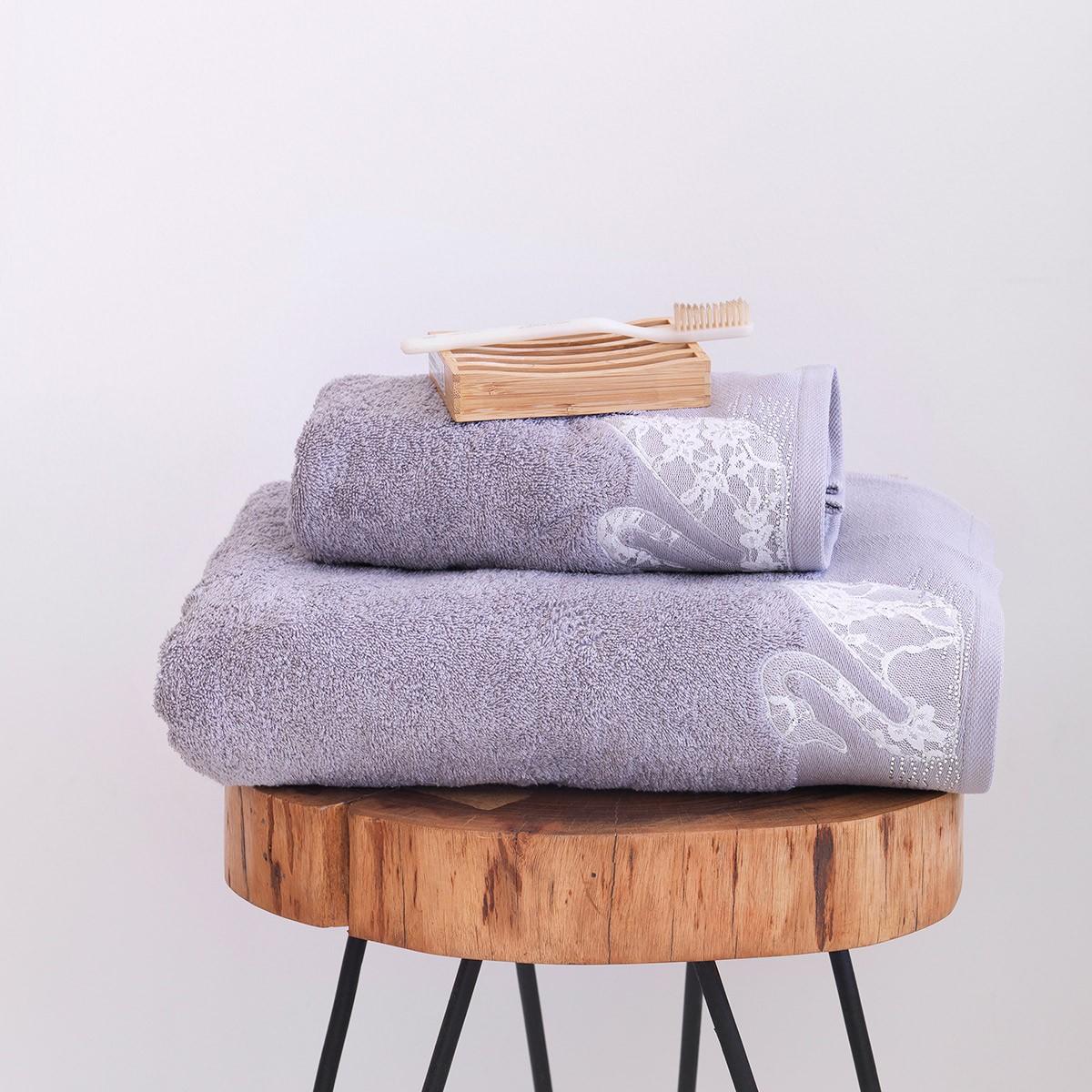 Πετσέτες Μπάνιου (Σετ 2τμχ) Sb Home Swan Silver