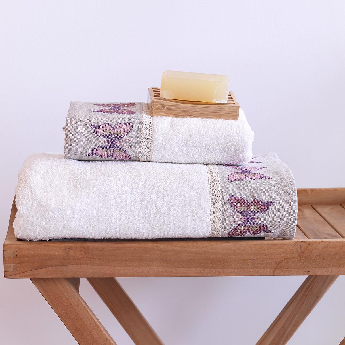 Πετσέτες Μπάνιου (Σετ 2τμχ) Sb Home Butterfly Cream