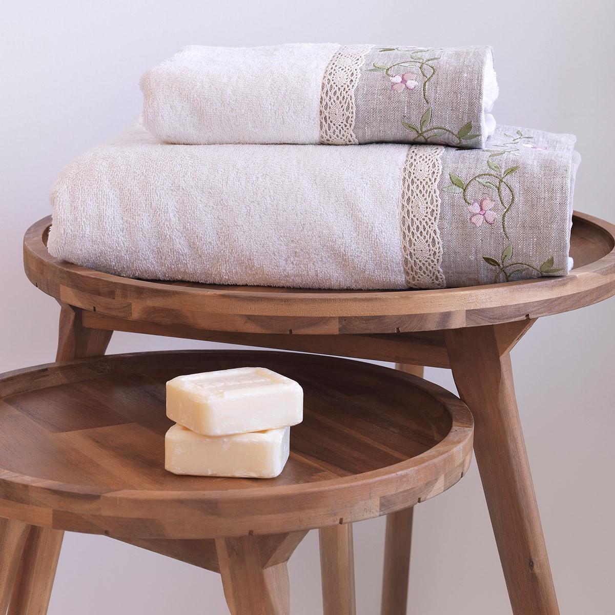 Πετσέτες Μπάνιου (Σετ 2τμχ) Sb Home Garland Cream