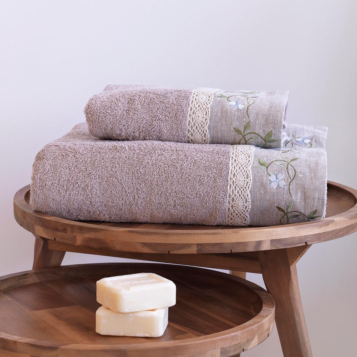 Πετσέτες Μπάνιου (Σετ 2τμχ) Sb Home Garland Taupe