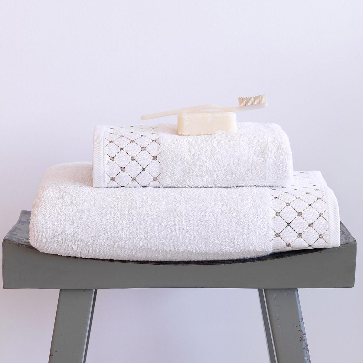 Πετσέτες Μπάνιου (Σετ 2τμχ) Sb Home Domino Cream