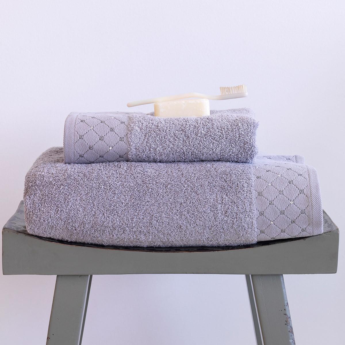 Πετσέτες Μπάνιου (Σετ 2τμχ) Sb Home Domino Silver