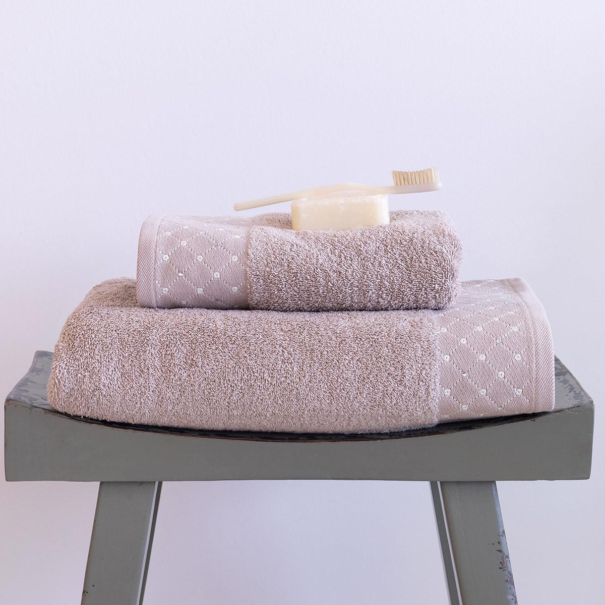 Πετσέτες Μπάνιου (Σετ 2τμχ) Sb Home Domino Taupe