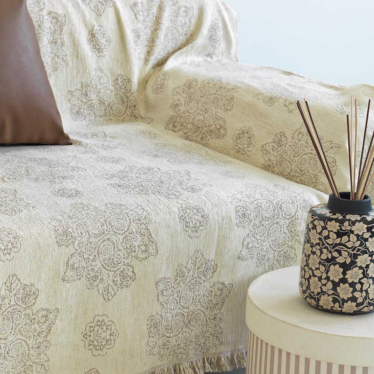 Ριχτάρι Τριθέσιου (180x300) Sb Home Lillies Cream