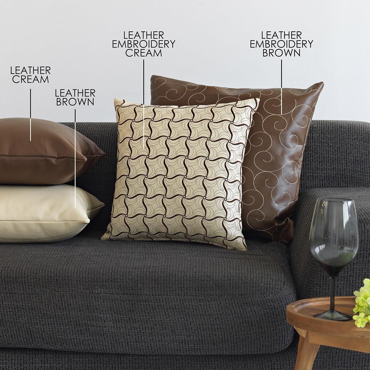 Διακοσμητική Μαξιλαροθήκη (45×45) Sb Home Leather Embroidery Cre