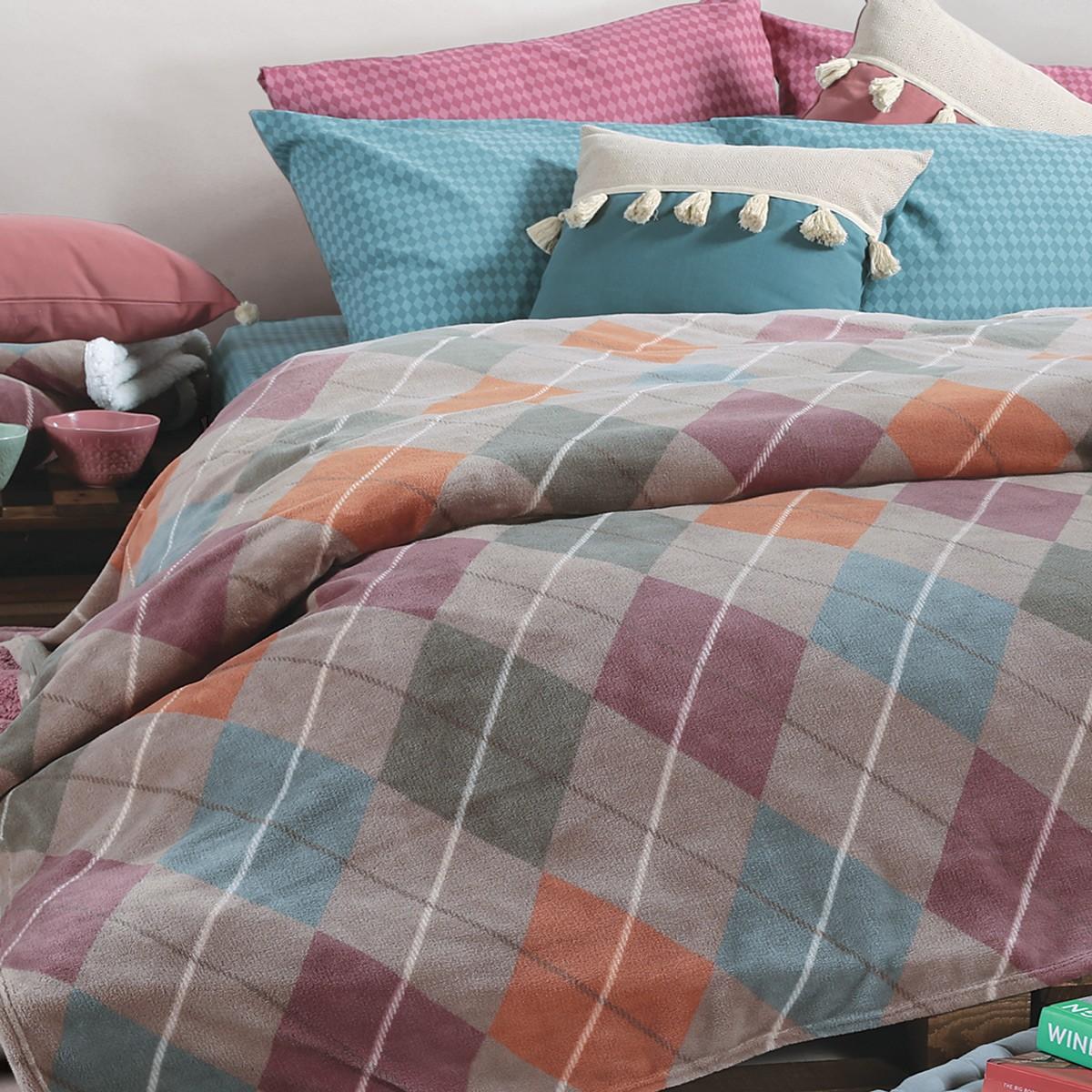 Κουβέρτα Fleece Υπέρδιπλη Nef-Nef Jagger Aqua 76051